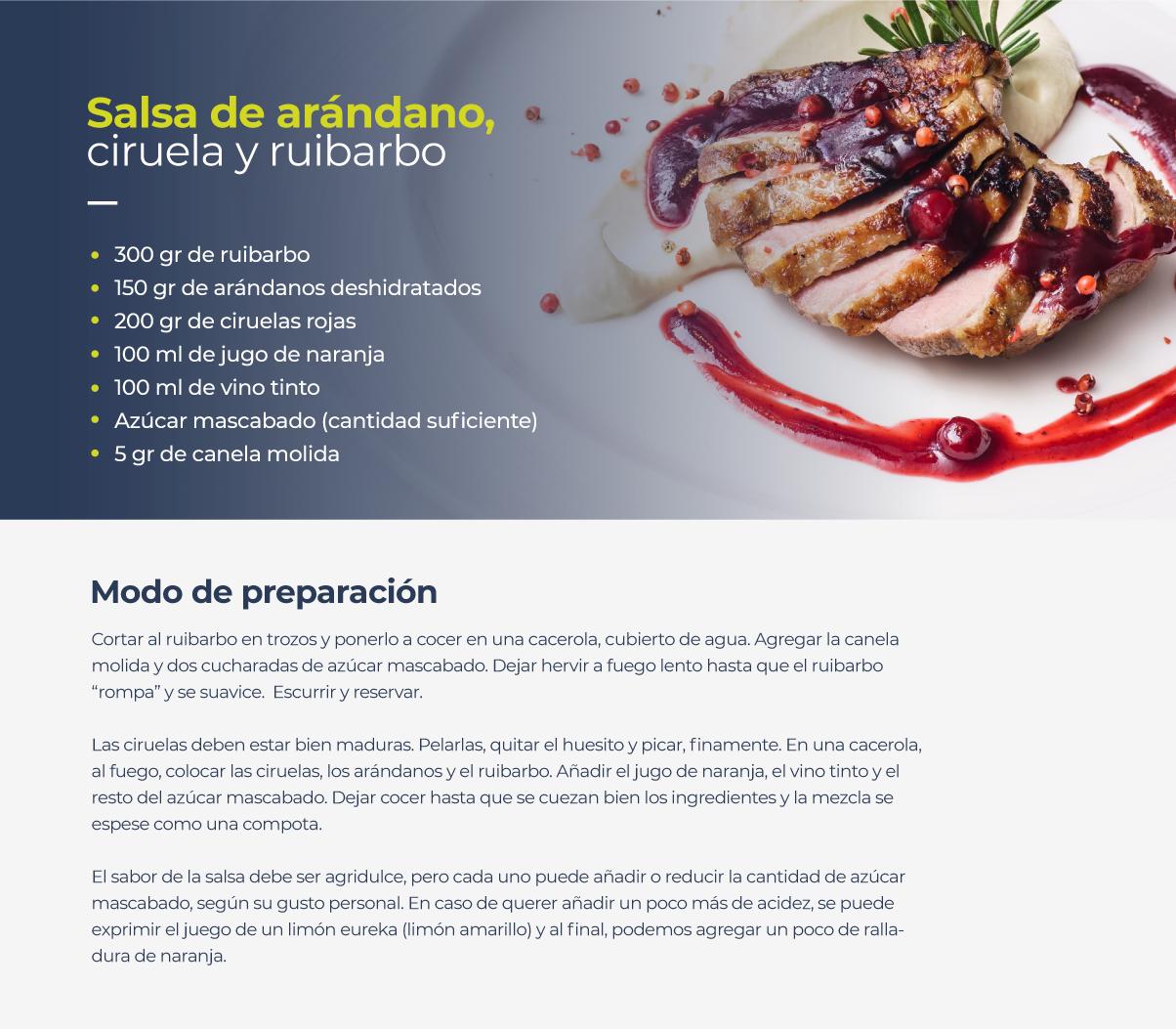 Receta de salsa de arándanos, ciruela y ruibarbo