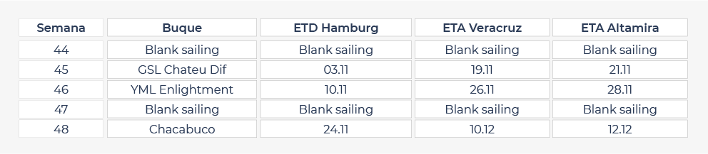 Blank sailings Alemania Nov 2020